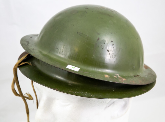 Lot of Two Small Metal Doughboy Helmets