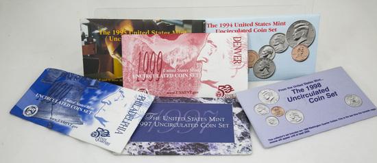5 1990's U.S. Mint Uncirculated sets