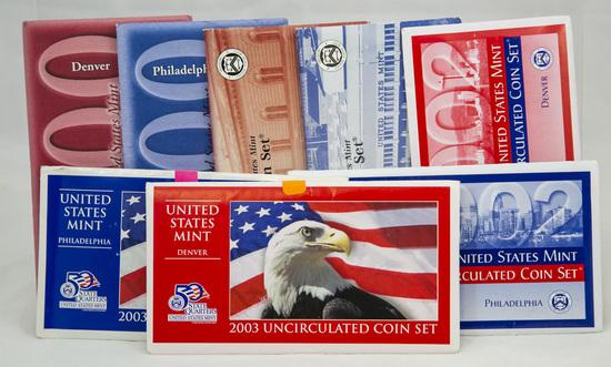4 2000's U.S. Mint Uncirculated sets