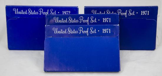 3 1970's U.S. Proof sets