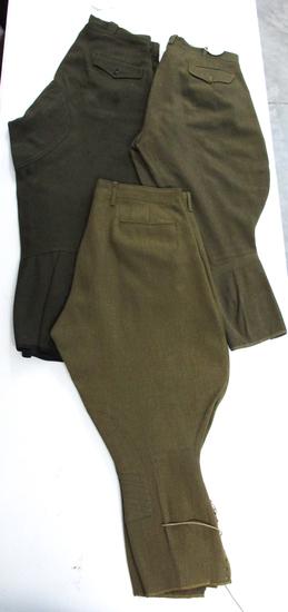 Three Pair WWI US Army Breeches