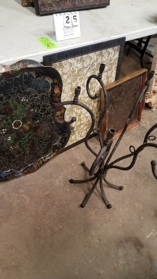 Large Candelabra, 2 Wall Hangings, And Wooden Tray