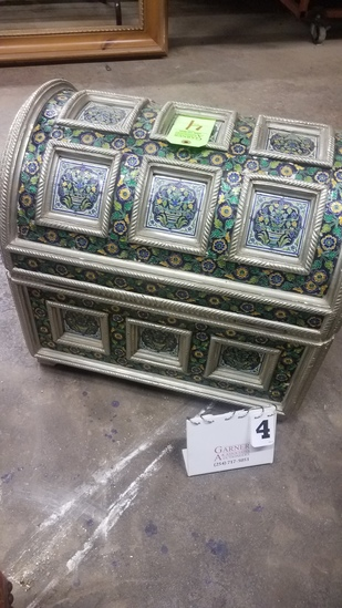 Embossed Metal Cloisonné Trunk With Blue Velvet Lining