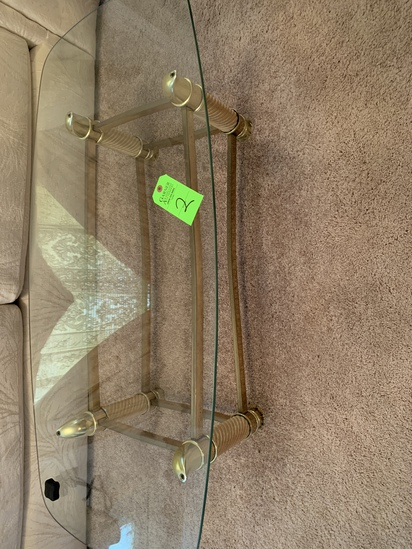 Coffee Table And 2 Matching End Tables- Glass Tops