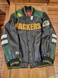 Green Bay Packers Leather Jacket Lg