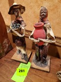 Vintage Mexican Paper Mache Folk Art Figurines 2 Old People Farming Couple