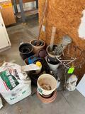 Lot Of Planting Pots, Sprayer, Hose, Misc.