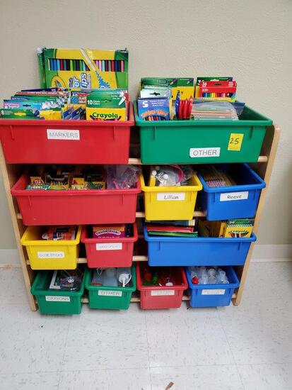Kids' Toy Storage Organizer With 12 Plastic Bins Full Of School Supplies
