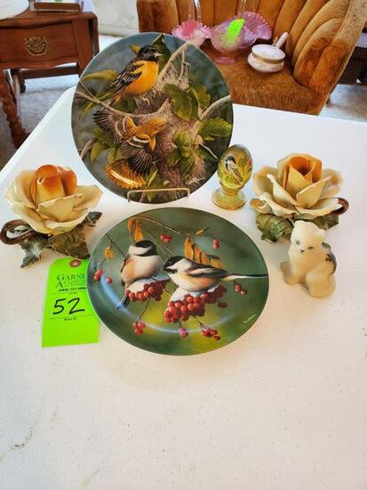 Fenton Hand Painted Cat, 2 Rose Candleholders, 2 Bird Plates, 1 Bird Egg
