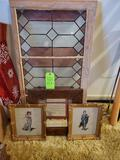 Stain Glass Needlepoint Pinky & Blue Boy, Old Mirror