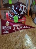 A&M Helmet Signed By Gene Stallings & 2 Other Signatures & Flag Banner