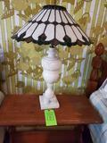 Alabaster Lamp W/ Plastic Shade