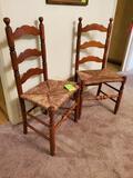 2 Ladder Back Rush Bottom Chairs