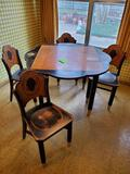 Grape Kitchen Table w/ Drop Leaves, & 4 Chairs- 1920's Missouri