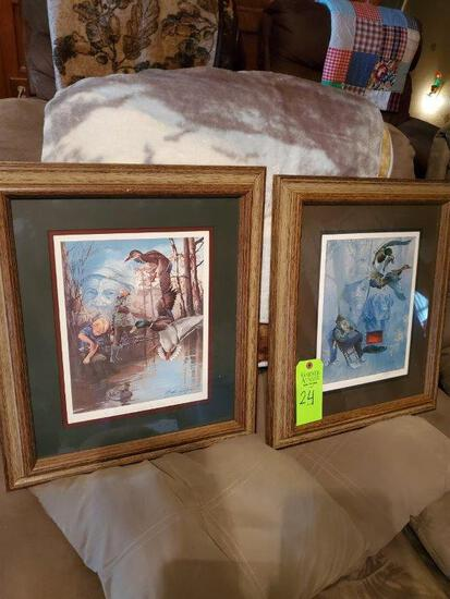 2 Signed Prints By Lettie Jones - Old Hunters Never Die & In Fathers Footsteps