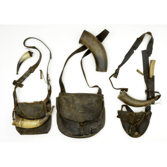 Lot of 3 19th Century Hunting Bags with Horns and one Knife