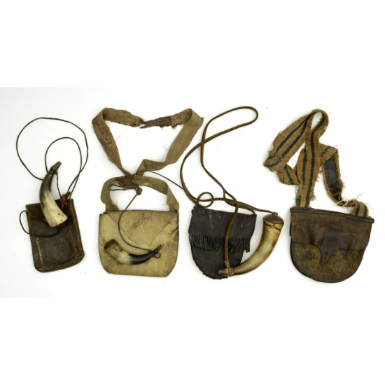 Early 19th Century Hunting Bags with Horns Lot of 4