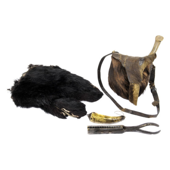 Early Fur Covered Hunting Bag with Knike, Horn, Gang Mold and Bearskin Mittens