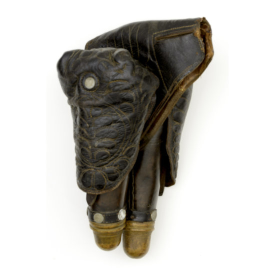 Early Small Saddle Pommel Holsters with Trapunto Quilted Leather Flaps