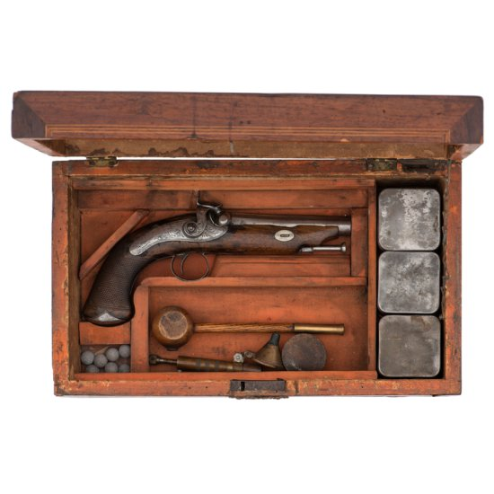 Cavanaugh .52 Caliber Percussion Pistol with Detailed Provenance in Special Box PLUS
