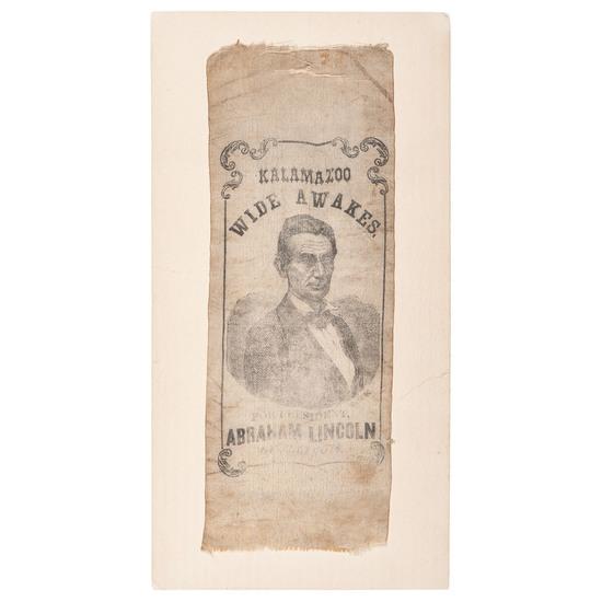 Abraham Lincoln Kalamazoo Wide Awakes 1860 Campaign Ribbon
