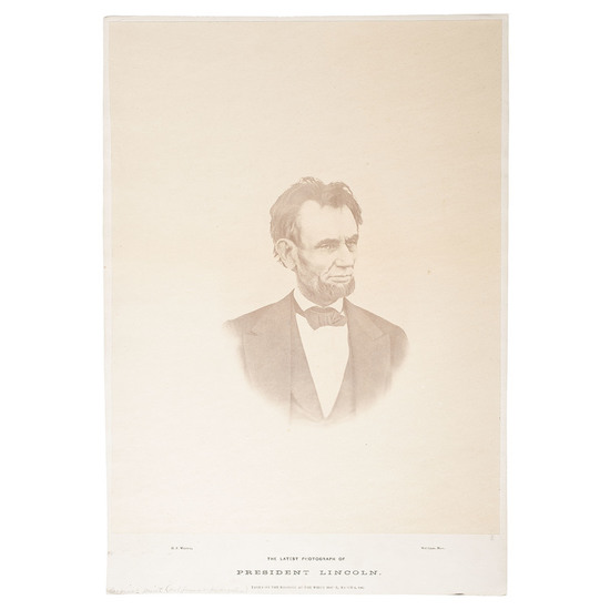 The Last Photograph of Abraham Lincoln, Large Format Albumen Photograph by Warren, in Rare Largest S