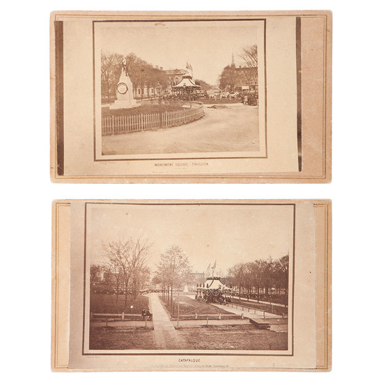 Rare Pair of Period Copy CDVs Featuring Lincoln's Funeral Procession in Monument Square Pavilion, Cl