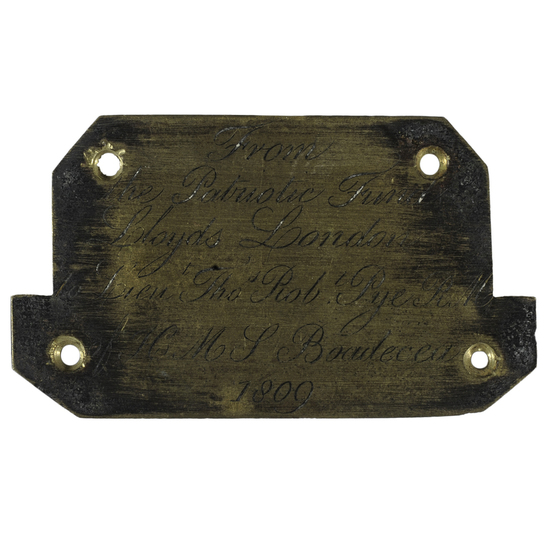 Engraved Plaque for a Cased Lloyds of London Sword Presented to Lt. Thos. Robt. Pye