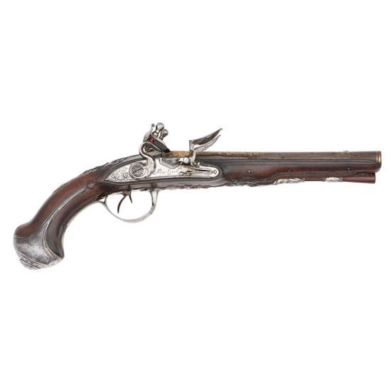 Late 18th Century French Double Barrel Flintlock Pistol by Bichard
