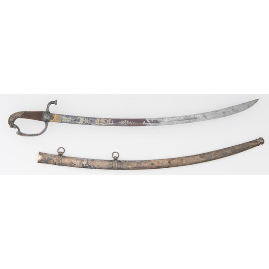 Eaglehead Hilted Mounted Militia Officer's Saber with Scabbard