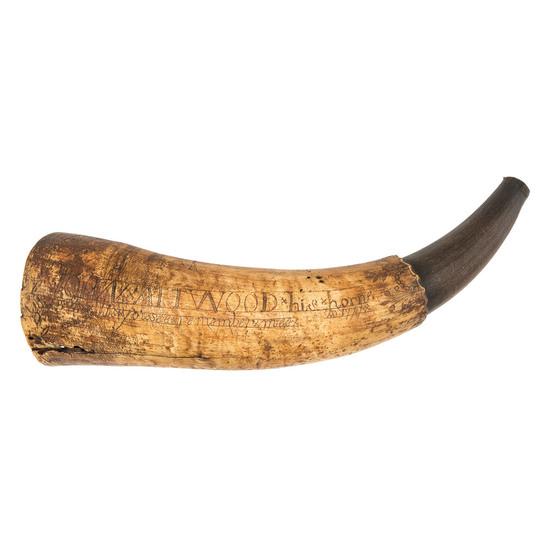 Folk Art Carved Powder Horn Identified to John Attwood, 1777