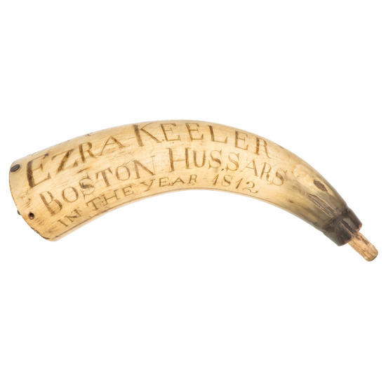 Carved  War of 1812 Boston Hussars Powder Horn,
