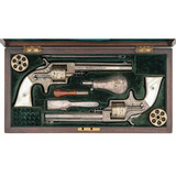 The Finest Known Ultra Deluxe French Cased Pair of Exhibition Engraved 3rd Model Plant Army Merwin &