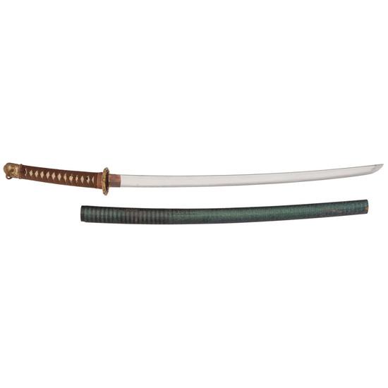 Gendai Japanese Samurai Sword (Katana) Signed Mutsu (no) Kami Kaneyasu in Shin-Gunto Mounts