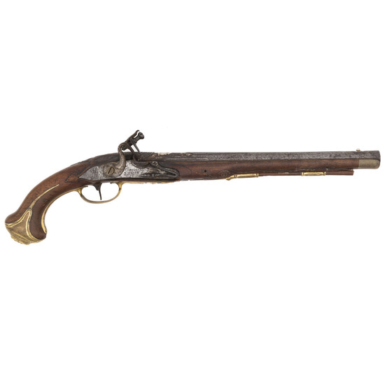 Signed German Flintlock Pistol Lock Marked J..S. Meckel A Suerin