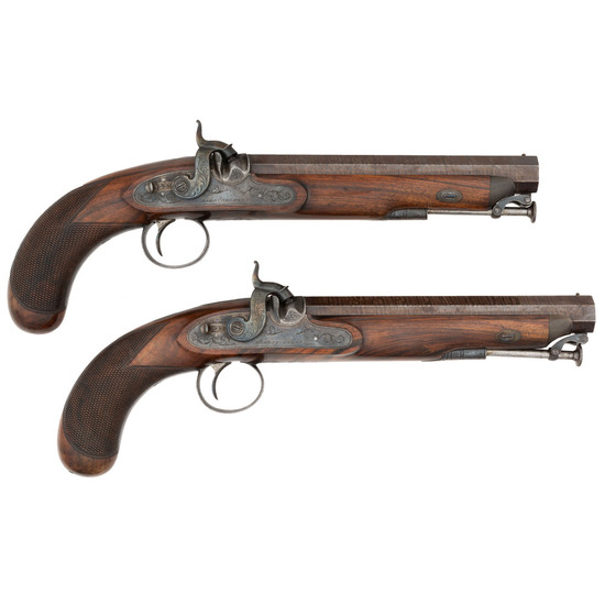 A Pair of English Percussion Dueling Pistols