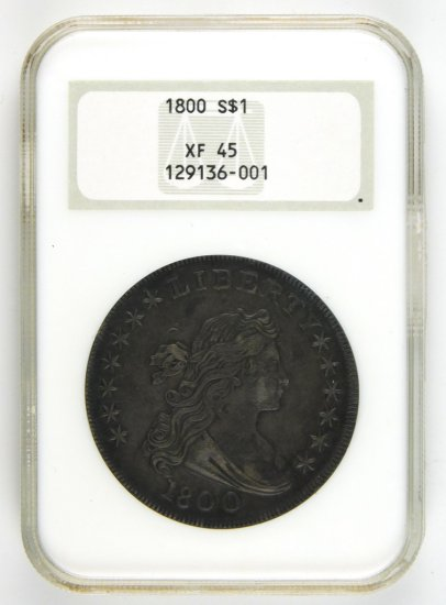 1800 Draped Bust Silver Dollar, 12 Arrows.  CONDITION:  NGC EF-45, Entombed
