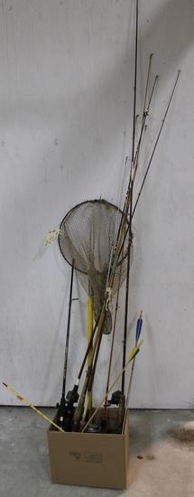 8 fishing poles, fishing net and 3 arrows