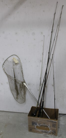 6 fishing poles and net