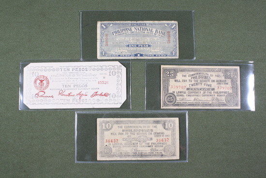 (5) WWII Philippine guerrilla currency notes.