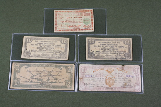 (4) WWII Philippine guerrilla currency notes.