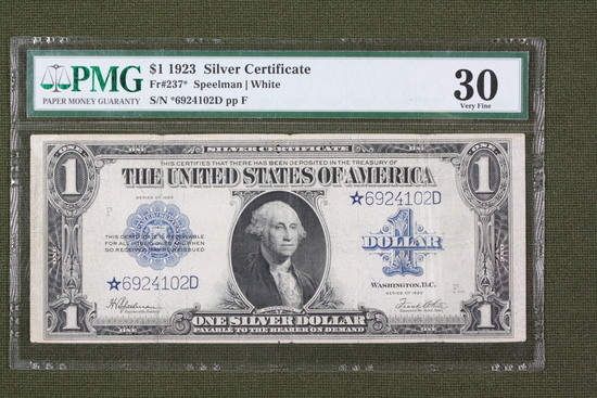 Series 1923 large $1.00 silver certif star note.