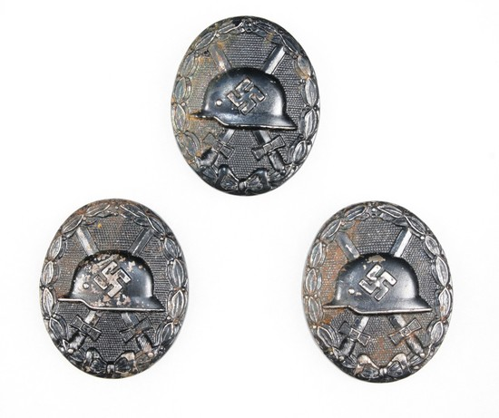 (3) Nazi WWII German wound badges (black)