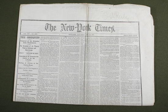 Lincoln Assassination 4/22/1865 Newspaper