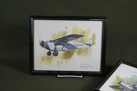 (5) 1970's Nixon Galloway Airplane prints.