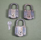 (3) Antique Alps fancy large padlocks