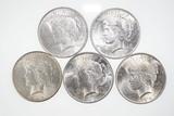 Lot (5) U.S. silver Peace type dollars