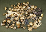 Bag lot of antique military buttons, etc