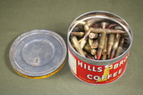 Antique coffee can of U.S. military rifle bullets