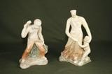 (2) 1950's Cuban glazed chalk figures.